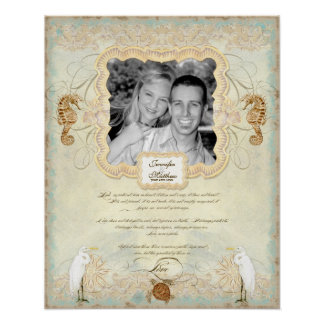 16x20 Wedding Photograph Love Chap Beach Seashore Posters