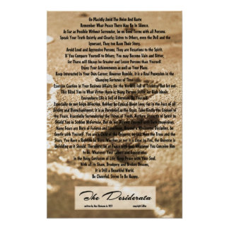 16x24 Desiderata Poem with Sandy Footprints Poster
