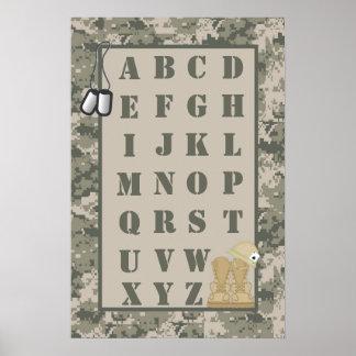 16x24 Nursery Art ABC Chart ARMY ACU Camoflauge