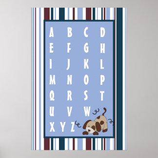 16x24 Nursery Art ABC Chart Lil League Puppy Dog