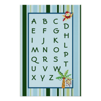 16x24 Nursery Art ABC Chart Rain-forest Jungle Poster