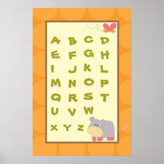 16x24 Nursery Art ABC Chart Tropical Punch Girl