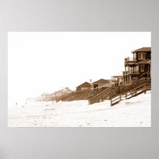 16x24 Sephia Print Of Florida Beach