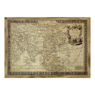 1700 AD OLD WORLD MAP Poster