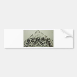 1700s Grave Rubbing Winged Cherubs Design Bumper Sticker