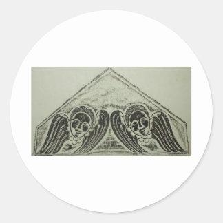 1700s Grave Rubbing Winged Cherubs Design Classic Round Sticker