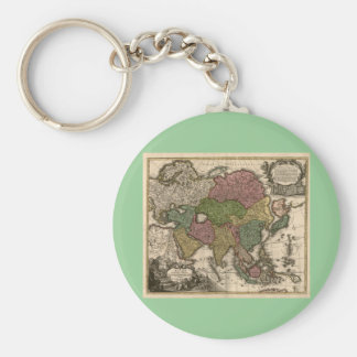 1700's Map of Asia Key Chain