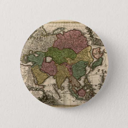 1700's Map of Asia Pinback Button