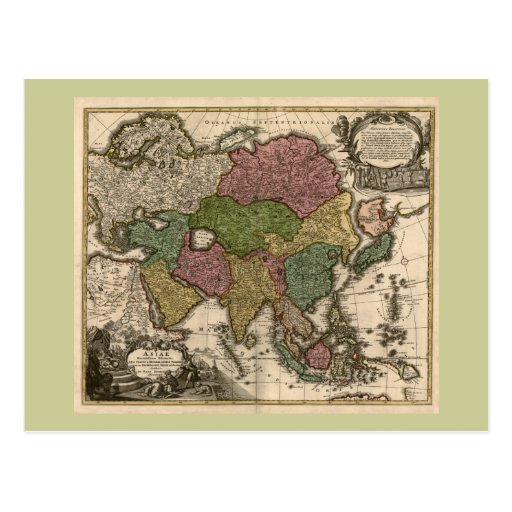 1700's Map of Asia Postcard