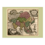 1700's Map of Asia Postcards