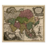 1700's Map of Asia Poster