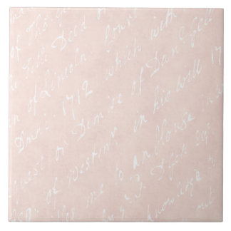 1700s Vintage English Script Peach Retro Parchment Ceramic Tile