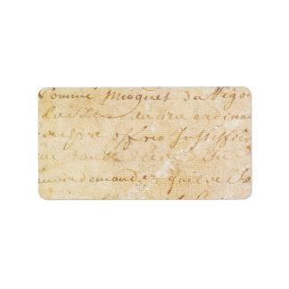 1700s Vintage French Antique Script Background Label