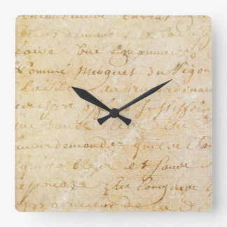 1700s Vintage French Antique Script Background Square Wall Clock
