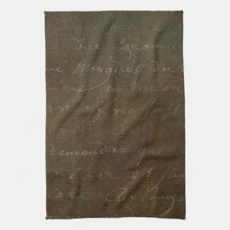 1700s Vintage French Brown Script Grunge Parchment Hand Towels