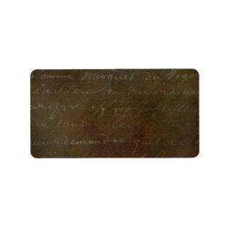 1700s Vintage French Brown Script Grunge Parchment Label