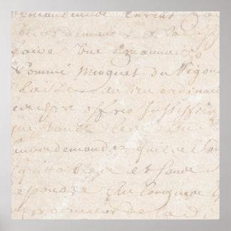1700s Vintage French Retro Script Parchment Paper Poster