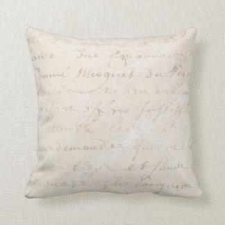 1700s Vintage French Retro Script Parchment Paper Throw Pillow