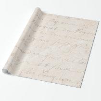 1700s Vintage French Retro Script Parchment Paper Wrapping Paper