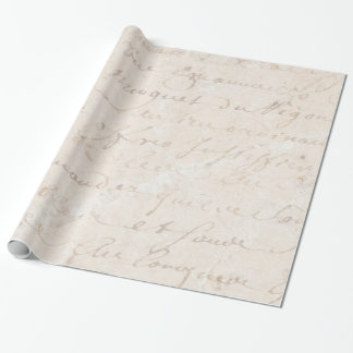 1700s Vintage French Retro Script Parchment Paper Wrapping Paper
