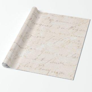 1700s Vintage French Retro Script Parchment Paper