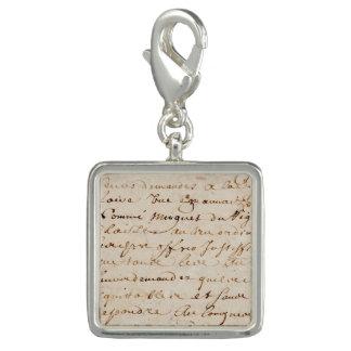 1700s Vintage French Script Grunge Parchment Paper Charm Bracelet