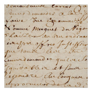 1700s Vintage French Script Grunge Parchment Paper Poster