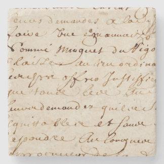 1700s Vintage French Script Grunge Parchment Paper Stone Coaster