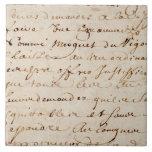 1700s Vintage French Script Grunge Parchment Paper Large Square Tile