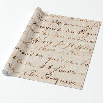 1700s Vintage French Script Grunge Parchment Paper Wrapping Paper