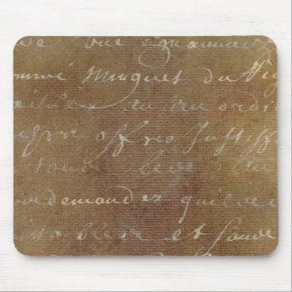1700s Vintage French Script Tan Parchment Paper Mouse Pad