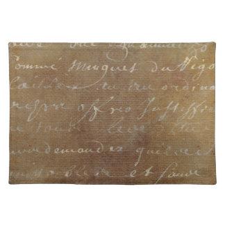1700s Vintage French Script Tan Parchment Paper Place Mat