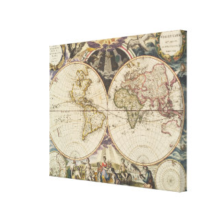 1702 A new map of the world Canvas Print
