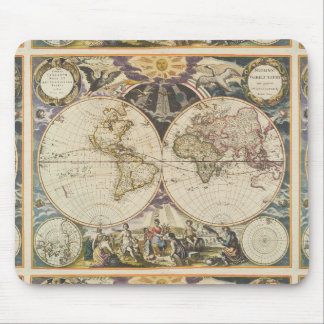 1702 A new map of the world Mouse Pad