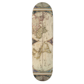 1702 A new map of the world Skateboard Deck