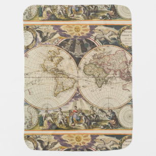 World map baby blankets zazzle 1702 a new map of the world swaddle blanket gumiabroncs Images