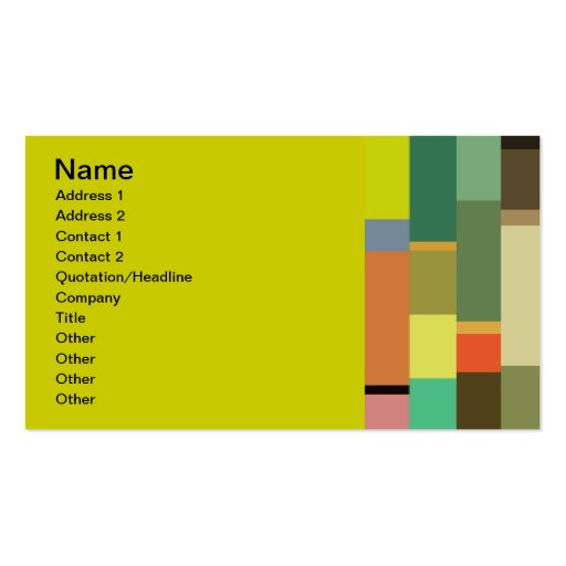 1702 rectangles squares COLORFUL PATTERN RANDOM BA Business Card