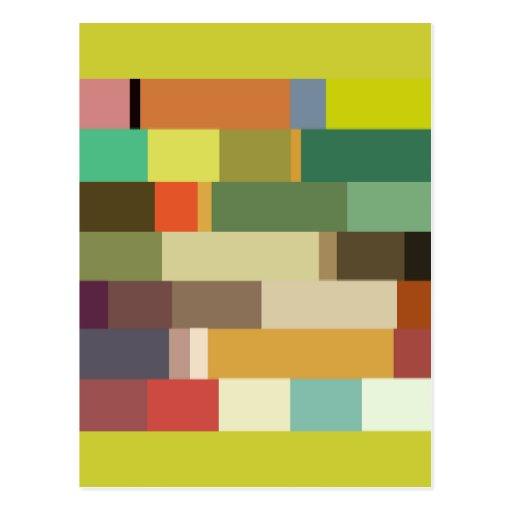 1702 rectangles squares COLORFUL PATTERN RANDOM BA Postcard