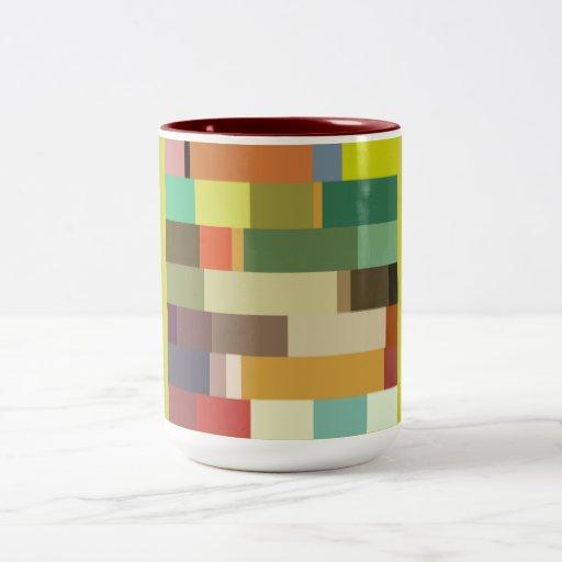 1702 rectangles squares COLORFUL PATTERN RANDOM BA Two-Tone Coffee Mug