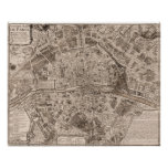 1705 Map of Paris, France Posters