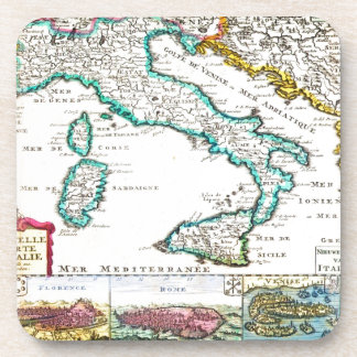 1706 de la Feuille Map of Italy Geographicus Coasters