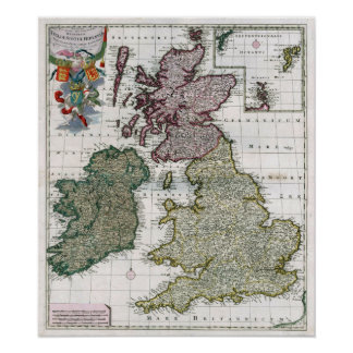 1706 Kindgdoms of England, Scotland, and Wales. Print