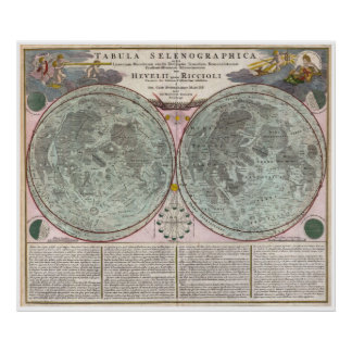 1707 Map of the Moon Poster