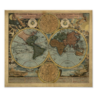 1707 World Map Poster