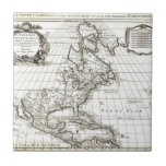 1708 De L'Isle Map of North America Covens and Mo Ceramic Tile