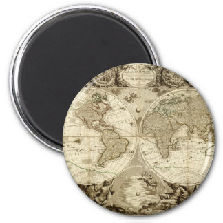 1708 World Map by Jean Baptiste Nolin 2 Inch Round Magnet