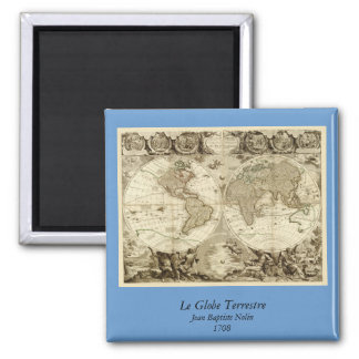 1708 World Map by Jean Baptiste Nolin 2 Inch Square Magnet