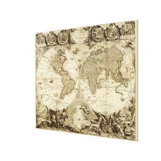 1708 World Map by Jean Baptiste Nolin Stretched Canvas Print