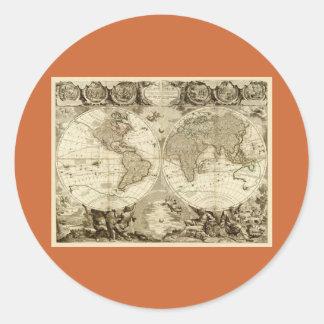1708 World Map by Jean Baptiste Nolin Classic Round Sticker