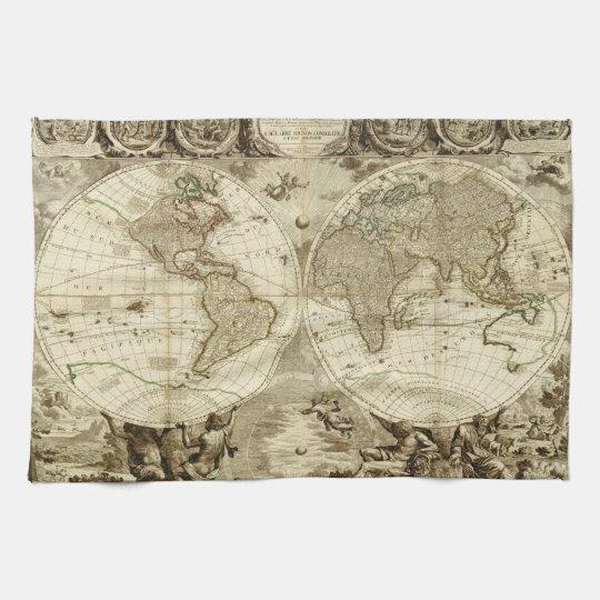 1708 World Map by Jean Baptiste Nolin Kitchen Towel
